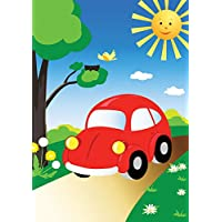 JP London MD3052PS Peel and Stick Big Red Punch Buggy VW Cars Cartoon Nursery Fully Removable Accent Wall Mural, 8.5-Feet by 6-Feet