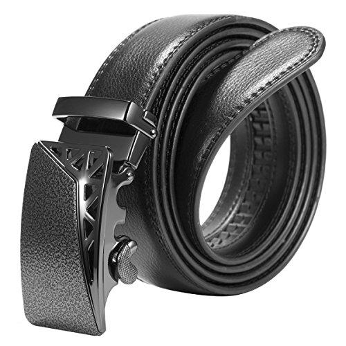 ManChDa Männer Solide Schnalle mit automatischen Ratsche Ledergürtel 35mm breit + Geschenk Tasche (Gürtel Mit Austauschbaren Schnallen)