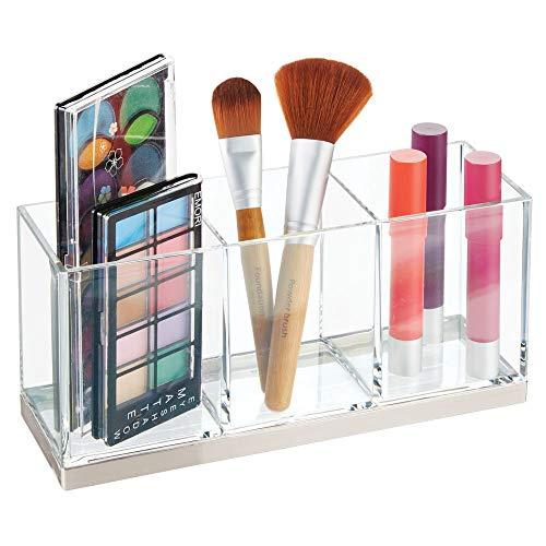 mDesign großer Make-up Halter mit 3 Fächern - praktischer Sortierkasten für Kosmetik - quadratische Schminkbox aus Kunststoff - durchsichtig und silberfarben