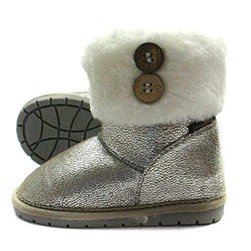 SB121 Studio BIMBI Pull On Baby Boots Mid Calf for Girls >      > Pull mi Sur bottes de bébé pour les filles Silver (argent)