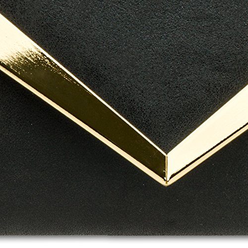 CASPAR TA353 Sac à main clutch élégant pour femme - Pochette de soirée enveloppe avec décor métallisé stylé Noir