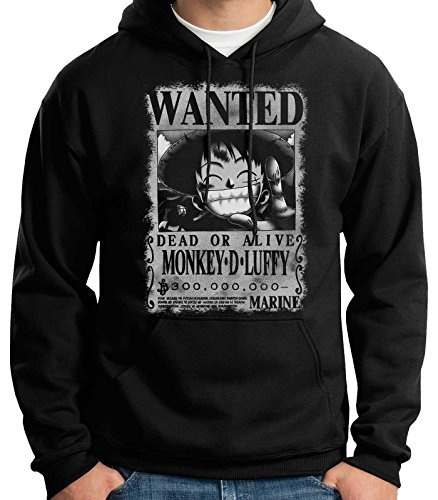35mm - Sudadera con Capucha Monkey D Luffy Wanted- One Piece, Unisex,