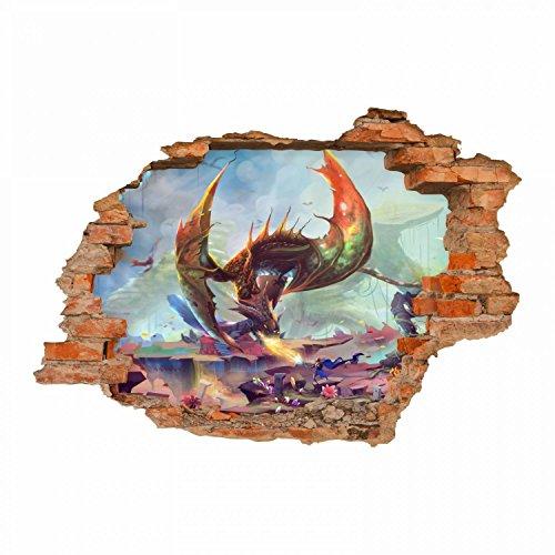 nikima - 099 Wandtattoo Drache 2 Feuer Spucken Fantasy - Loch in der Wand - in 6 Größen - wunderschöne Kinderzimmer Sticker und Aufkleber Coole Wanddeko Wandbild Junge Mädchen Größe 750 x 520 mm (Edelstein-könig Der)