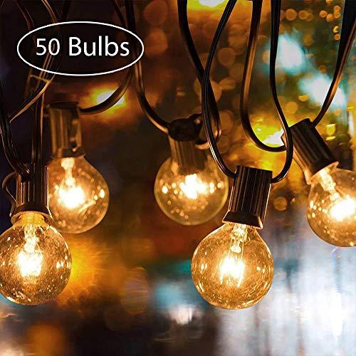 Lichterkette Außen, UOUNE G40 50er+5er 50FT Outdoor Lichterkette Glühbirnen - Wasserdicht Lichterkette Innen Aussen Strombetrieben Garten für Deko Party Terrasse Weihnachten Hochzeit Draußen Warmweiß