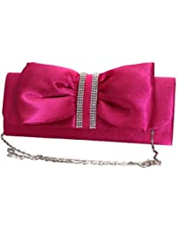 Beau sac à main Clutch - Avec sangle noble et magnifique strass - en différentes couleurs et deux variantes (horizontale ou verticale boucle, cliquez sur ou fermeture magnétique)