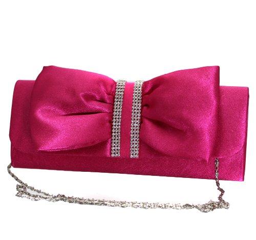 Damen Handtasche Clutch mit edlem Schlaufen Muster in verschiedenen eleganten Farben (ML820-Pink) (1920er Jahre Frauen Schuhe)