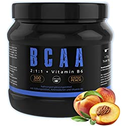 GYM - NUTRITION® BCAA + VITAMIN B6 Hochdosiert | Aminosäuren Pulver BCAAs | Leucin | Isoleucin | Valin 2:1:1 Aminosäure | Deutsche Premium Qualität | Vegan | Sensations Amino Geschmack Ice Tea Peach