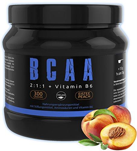 GYM - NUTRITION BCAA + VITAMIN B6 | Hochdosiertes Aminosäuren Pulver | Leucin | Isoleucin | Valin 2:1:1 | In Deutscher Premium Qualität | Vegan | Sensationeller Geschmack Ice Tea Peach
