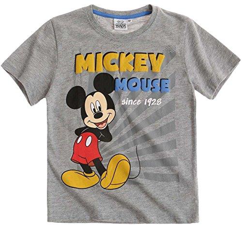 Mickey Kurz (Mickey Mouse Kollektion 2017 T-Shirt 92 98 104 110 116 122 128 Kurz Jungen Sommer Neu Maus Disney Grau (116, Grau))