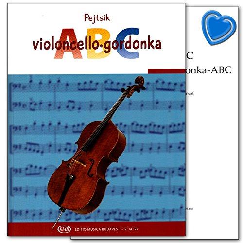Violoncello ABC von Arpad Pejtsik - Violoncello-Schule mit bunter herzförmiger Notenklammer - 9790080141779