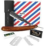 Rasoir à Barbe Traditionnel par Sapiens - Rasoir de Barbier avec Manche en Bois + 10 Lames Doubles Derby (20 Lames Simples) et Ebook en Cadeau