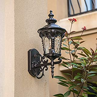 Wall Light Outdoor Wall Lamp Aisle Wall Lamp Waterproof Simple Retro Lamp Door Balcony Corridor Villa European Courtyard Wall Lamp UK (Color : Black-Arge)