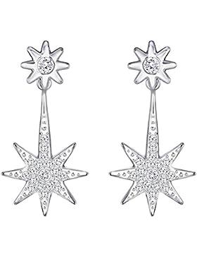 Swarovski Damen-Durchzieh Ohrringe Platiniert Kristall transparent Rundschliff-5230287