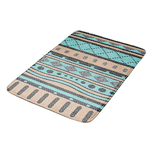 Wdskbg Turquoise and Peach Aztec Pattern Doormat Bath Door Mat 16 x 24 inch Cocker Spaniel Baseball