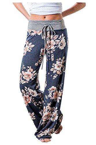 Zaywind Damen Blumenmuster Hosen Locker Weite Bein Lange Hose Gamaschen Freizeithose