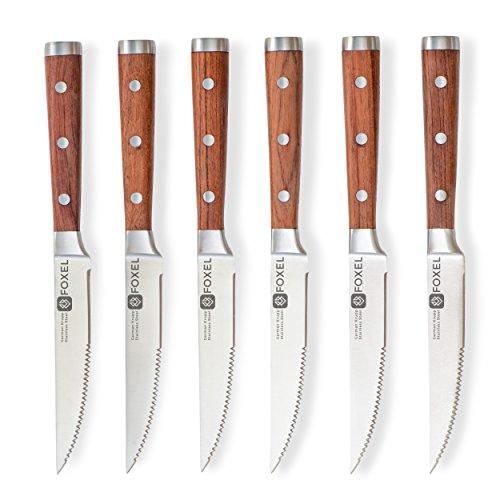 Foxel classico set di 6 coltelli da bistecca con manico in palissandro - lama tedesca in acciaio inossidabile, resistente alla ruggine e tagliente - il regalo perfetto tra le posate gourmet