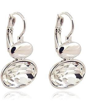 Ohrringe mit Kristallen von Swarovski® Farbe Silber Crystal - Damen Ohrhänger von NOBEL SCHMUCK