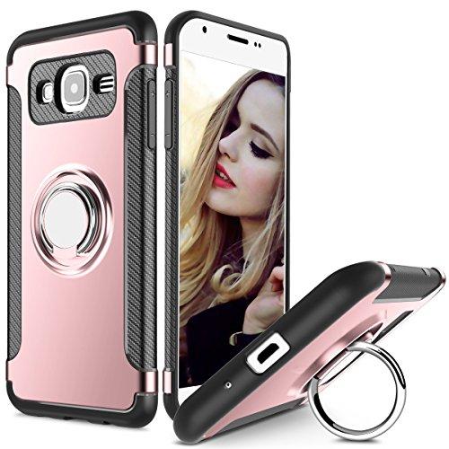 Hülle für Samsung Galaxy J2 Prime (5 Zoll) 360 Grad Drehbar Ringhalter mit Magnetischer Handyhalter Auto Handyhülle (Roségold)