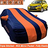 #5: Autofact Car Body Cover for Maruti Celerio (Mirror Pocket , Premium Fabric , Triple Stiched , Fully Elastic , Orange / Blue Color)