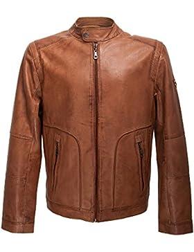 Zerimar Chaqueta para hombre fabricada en piel de alta calidad bolsillo interior y exteriores con cremallera