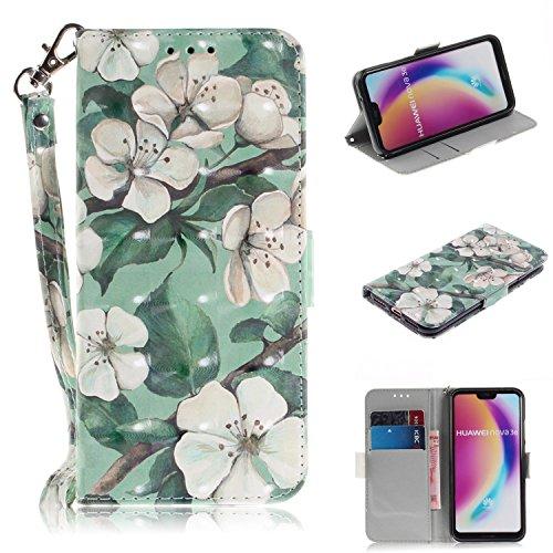 WIWJ Schutzhülle für Huawei P20 Lite Handyhülle Leder Case für Huawei P20 Lite Hülle [3D Lackiertes Verbindungsmittel Bracket Holster]Hülle für Huawei P20 Lite-Grüne Blatt Aquarell Blume