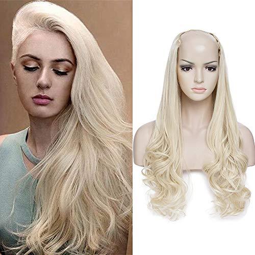 Extension clip capelli biondi mossi fasica unica mezza testa u part design 60cm clips in hair extensions sintetiche parrucca donna 200g - biondo chiarissimo