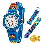 Orologio analogico da polso per bambine, bambini sport impermeabile 3D cute Cartoon giocattolo per bambini ragazzi ragazze regalo di compleanno Natale (Blue Fish)