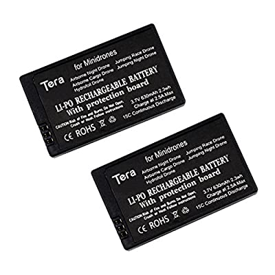 Tera 2Pcs of 3.7v 630mAh Rechargeable Li-po Battery with Protection Board for Parrot Mini Airborne Night Drone Airborne Cargo Drone Hydrofoil Drone Jumping Race Drone Jumping Night Drone