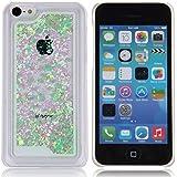 Funda para iPhone 5C, Case Cover para iPhone 5C, ISAKEN Best Selling Transparente Fluido Amor Corazon Bling Claro Lentejuelas Del Brillo Plástico Líquido Trasera Protección Case Cover Carcasa Funda para Apple iPhone 5C (Amor Verde)
