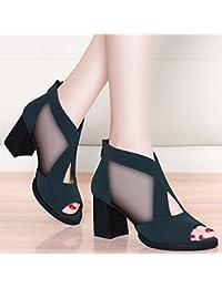 Damen Sandalen Sandalen Sandalen Net Garns Dicken Hochhackigen Sandalen Fisch Mund Sandalen Schnalle Frauen