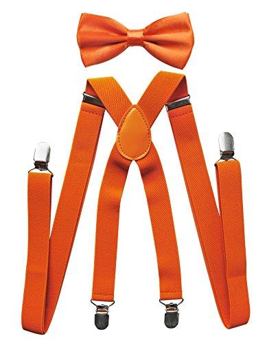 Axy, bretelle per pantaloni da uomo con farfallino, 4fermagli robusti, bretelle a forma di x arancione orange (hosenträger breit 2,5cm)