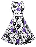 ACEVOG Elegant Damen aermellose 1950er Retro Vintage Floral Party Cocktailkleider Abendkleider Sommerkleid Knielang, size 46, violett