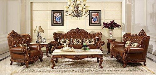 Wohnzimmer Traditionellen Sofa (Ma Xiaoying Echtes Leder, Massivholz Buche, Traditionelle Collection Wohnzimmer Möbel Set (Sofa, Liebesschaukel und Stuhl und 2tables), Braun.)