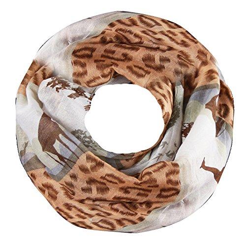 caripe Loop Schlauchschal Tiere Hunde Katzen Vogel unisex - sh22 (Afrika - braun)