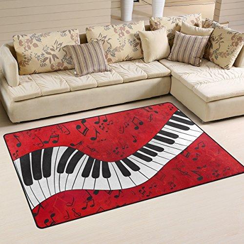 Naanle Rutschfeste Bereich Teppich für Dinning Wohnzimmer Schlafzimmer Küche, 50x 80cm (7x 2,6m), die Musik Note Klavier-Teppich für Kinderzimmer-Teppich Yoga-Matte, Multi, 100 x 150 cm(3' x 5')