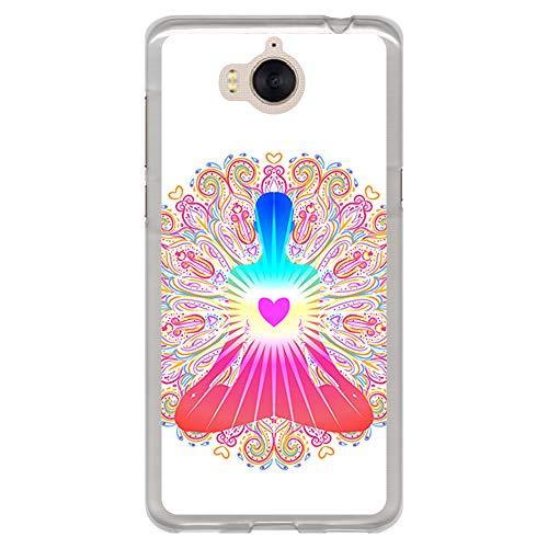 BJJ SHOP Transparent Hülle für [ Huawei Y6 2017 ], Klar Flexible Silikonhülle, Design: Chakra Kunst, Buddhismus, innerer Frieden
