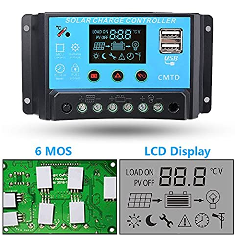 10A 12V/24V Solar Charge Controller with LCD Display Function Auto Regulator Intelligent Port for Solar Panel Battery Lamp Overload Protection Temperature Compensation