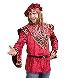 KarnevalsTeufel Männerkostüm Wilhelm 1-TLG. Oberteil mit Mütze in roter Samtoptik mit goldenen Verzierungen und schwarzem Gürtel Adeliger Barde Poet Dichter (Large)