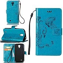 Funda Para Samsung Galaxy S4 (i9500) 5.0pulgada , pinlu® Alta Calidad Función de plegado Flip Wallet Case Cover Carcasa Piel PU Billetera Soporte Con Mariposa Grass Azul