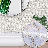 C Five Autocollant en mosaïque Autocollant Auto-adhésif de 10 pièces en PVC pour Le Salon Cuisine Salle de Bain Mur Plancher décoratif Stickers - Gris Hexagonal marbre,20 * 20cm