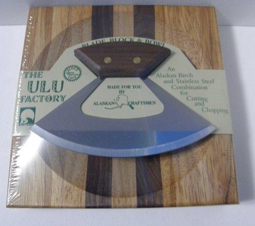 18,4cm Block W/Deep Dish Schneidebrett Schale und umialik Ulu Banjolele Messer mit Walnuss Griff