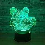 Simpatico cartone animato Lampada a LED 3D Alimentato tramite USB 7 colori Incredibile illusione ottica Luce notturna Camera da letto Luce Regali di compleanno per bambini