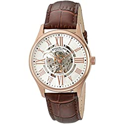 Stuhrling Original Classique Delphi Atrium Men's Automatic Watch with Silver Dial Analogue Display and Brown Leather Strap 747.04