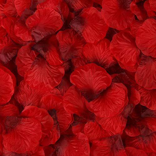 Petali di rosa artificiali,1000 pack petali di fiori in seta decorazione romantica petali di rosa per matrimonio confetti da tavola san valentino scatter 5 * 5cm rosso scuro