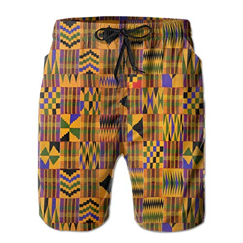 861a2f03d4 IconSymbol Ghana Kente Cloth Men's Beach Boardshort Summer Casual Swim  Shorts with Pockets
