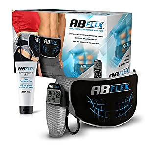Ab Flex Hochentwickelter Bauchmuskeltrainer Elektrisch Gürtel für Einen Durchtrainierten Bauch – 99 Intensitätsebene und 10 Programme für Schnelle Ergebnisse – Batterien Enthalten