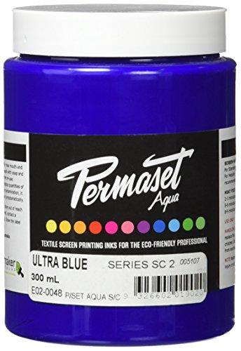 Permaset Aqua - Tinta para serigrafía textil (300 ml, ecológica, color azul intenso)