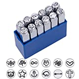 "BENECREAT 12 Pack (6mm 1/4"") Design Stamps, Metal Punch Stamp Stamping Tool Case"