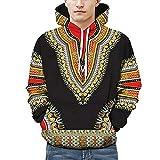 Riou Herren Langarm Hoodie Sweatshirt Slim fit Sweatjacke Kapuzenpullover Pullover T-Shirt Baumwoll Outwear Liebhaber Herbst Winter afrikanischen 3D Print Dashiki Top (XL, Schwarz)