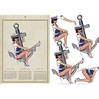 1950's vintage Captain calendario ragazza della parte anteriore di Michelle (1950 Calendario)